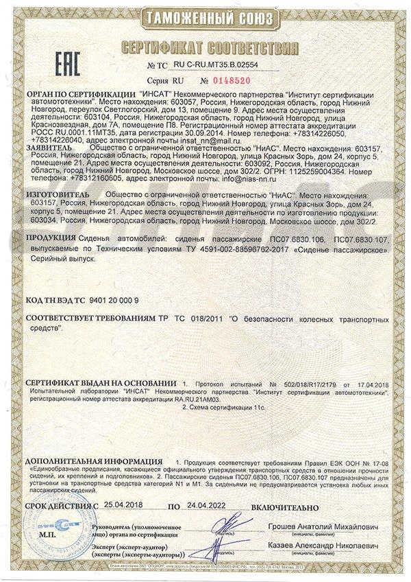 сертификат НиАС